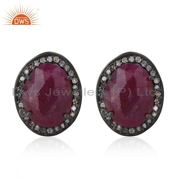 Natural Ruby and Pave Diamond 925 Silver Cufflinks Jewelry for Mens
