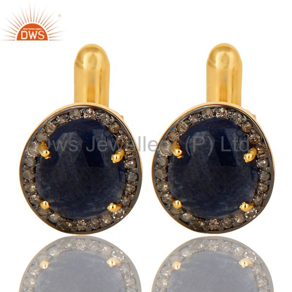 18K Yellow Gold Sterling Silver Pave Diamond And Blue Sapphire Cufflinks Jewelry