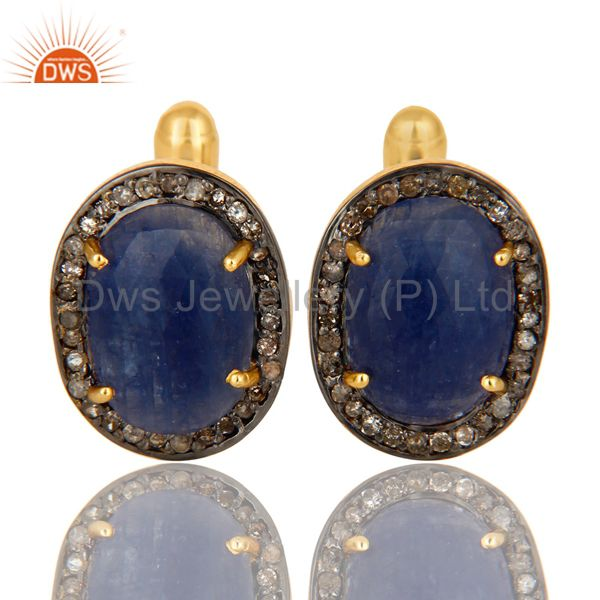 14K Yellow Gold Sterling Silver Pave Diamond And Blue Sapphire Cufflinks Jewelry