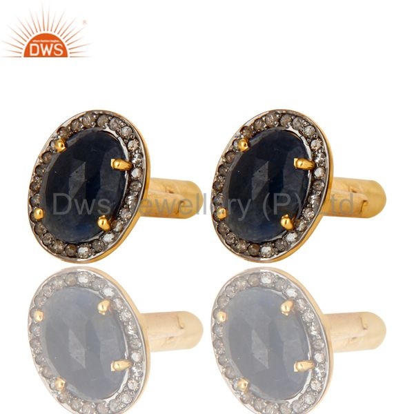 Pave Diamond And Blue Sapphire Cufflinks Made In 18K Yellow Gold Sterling Silver