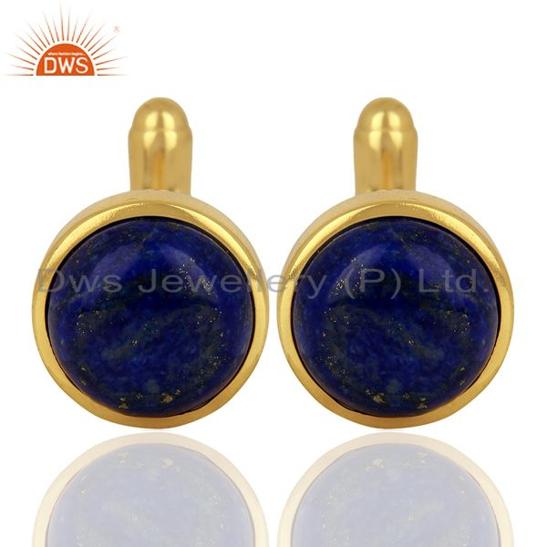 Yellow Gold Plated Lapis Gemstone Mens Cufflink Jewelry Manufacturer