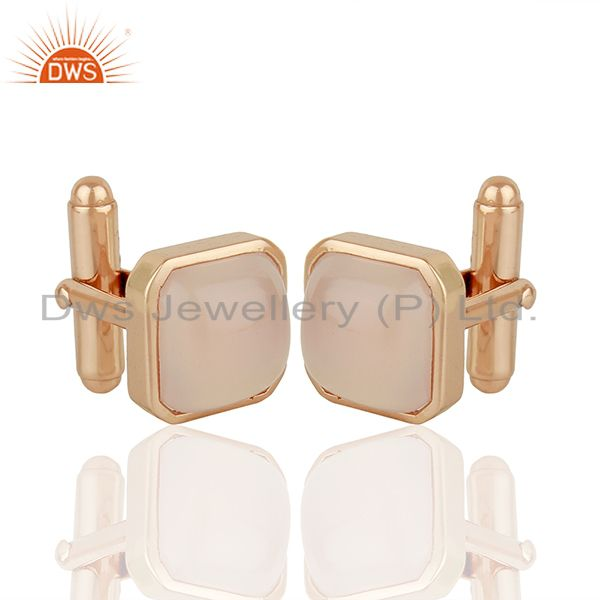 Rose Gold Plated Sterling Silver Mens Cufflink Jewelry Manufacturer