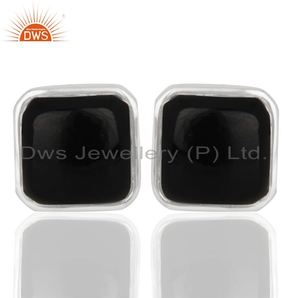 Black Onyx Sterling Silver Cushion Cufflinks Gift For Him Mens Jewelry