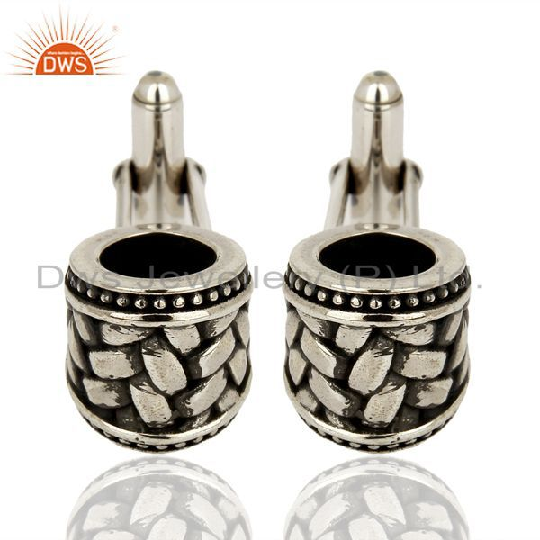 Oxidized 925 Sterling Fine Silver Mens Cufflink Jewelry For Mens