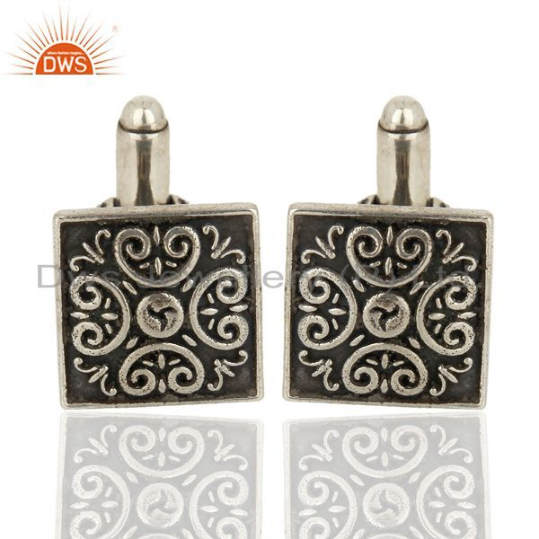Pair of Retro Style  925 Sterling Silver Black Mens Cufflink Wholesale Jewelry