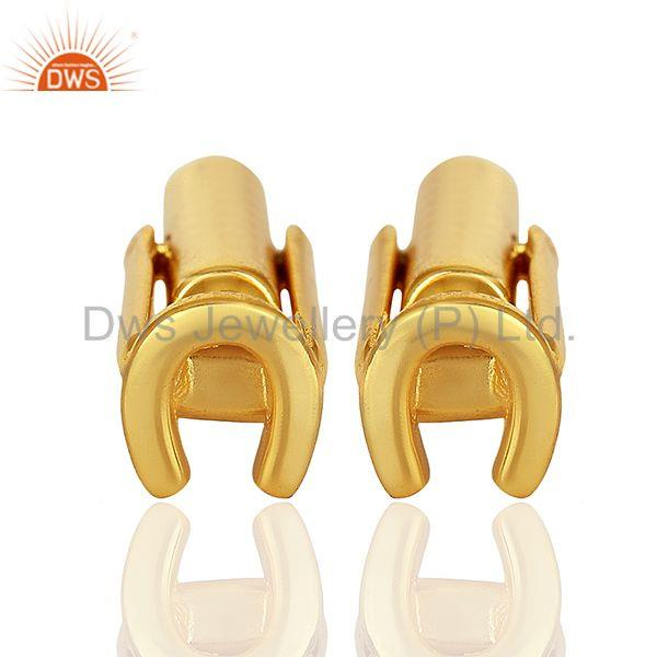 Horseshoe 925 Sterling Silver 18k Gold Plated Mens Cufflink Jewelry