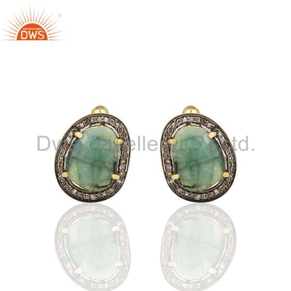 Natural Diamond and Emerald Birthstone Gold Plated Silver Mens Cufflinks