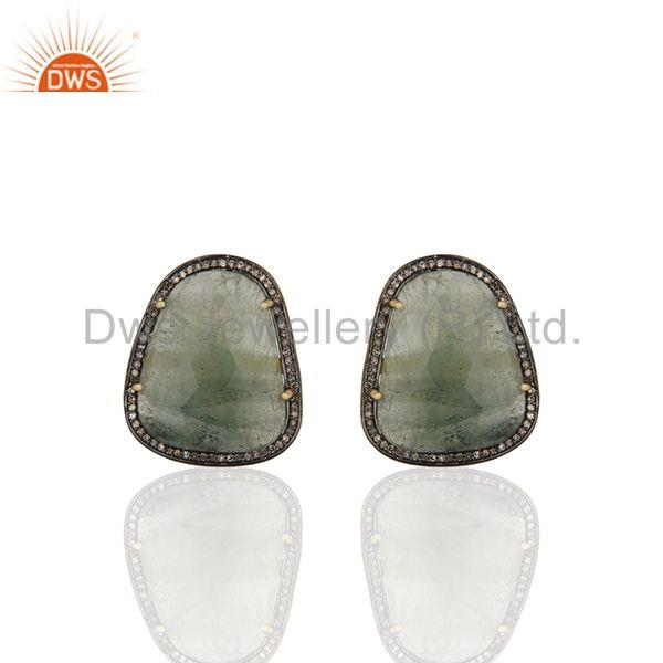 Emerald and Pave Diamond 925 Silver Gold Plated Mens Cufflink Wholesale
