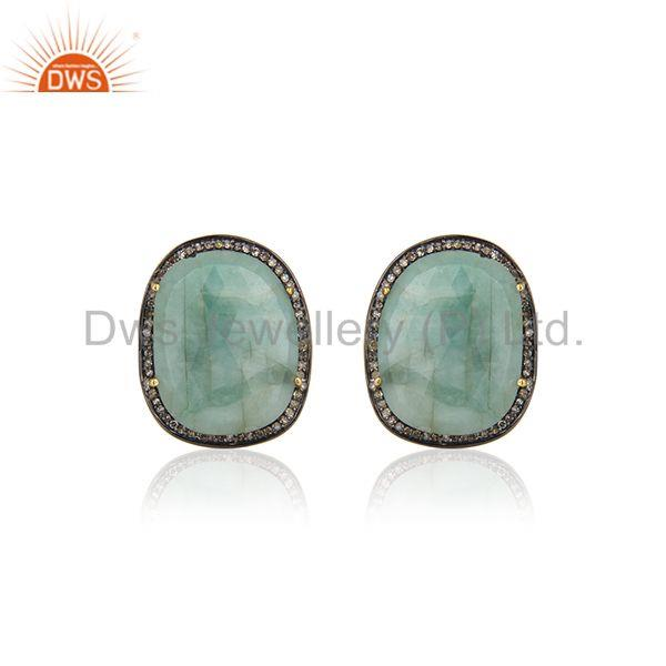 14k Gold Plated 925 Silver Pave Diamond And Emerald Gemstone Cufflinks For Mens