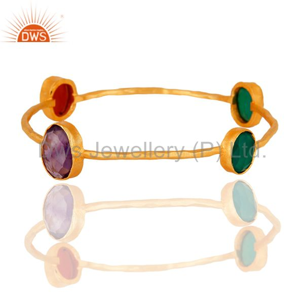 Handmade 22k Gold Plated Amethyst & Red And Green Onyx Gemstone Bangle Bracelet