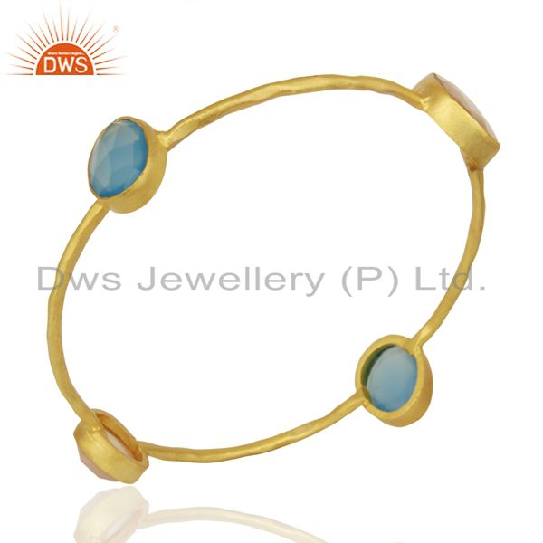 Blue Chalcedony Rose Chalcedony 14K Yellow Gold Plated Brass Bangle Jewelry