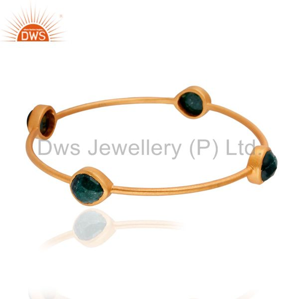 18K Gold Plated Dyed Emerald Brass Bangle Bracelet Handmade Jewelry