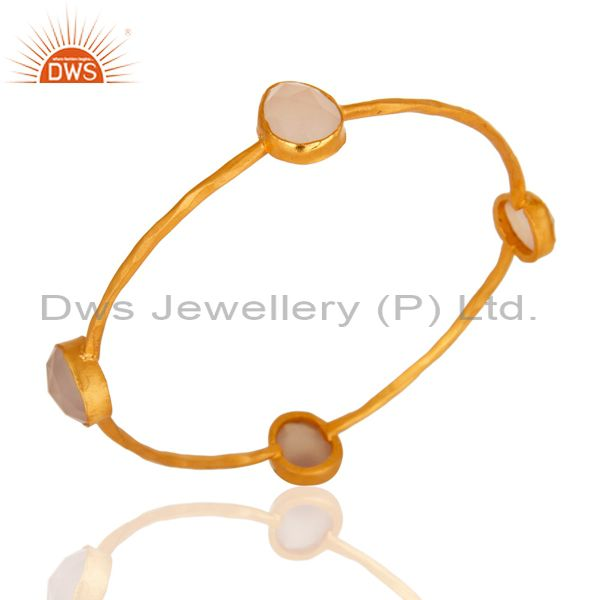Handmade Faceted Rose Chalcedony Gemstone Bangle In Yellow Gold Plated On Brass