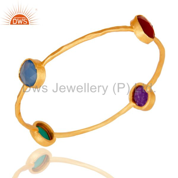 Dyed Chalcedony, Aventurine, Green & Red Onyx 18K Gold Plated Brass Bangle