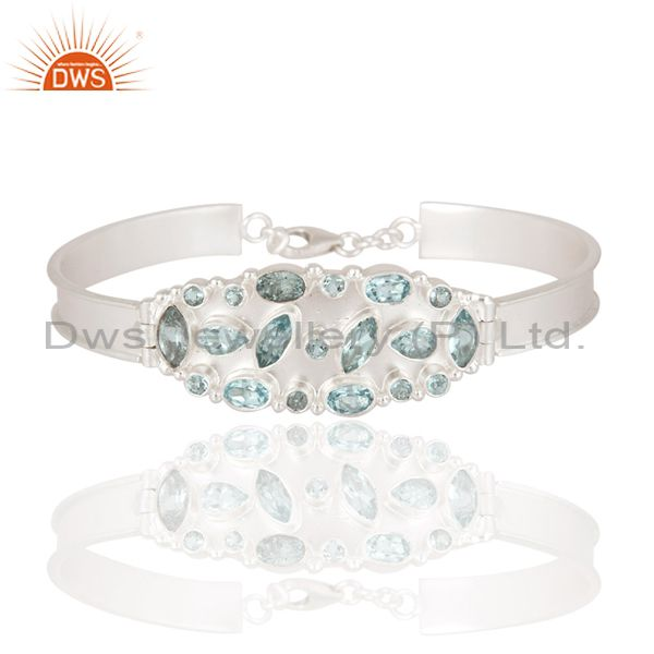 925 Sterling Silver Natural Blue Topaz Gemstone Bracelet For Womens