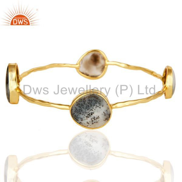 14K Yellow Gold Plated Sterling Silver Dendritic Opal Gemstone Bangle / Bracelet