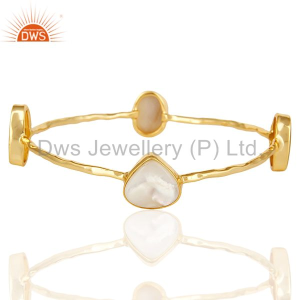 14K Yellow Gold Plated Sterling Silver Mother Of Pearl Sleek Bangle / Bracelet