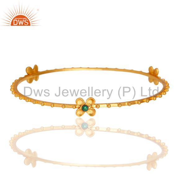 18K Yellow Gold Plated Emerald Green CZ Fashion Flower Bangle