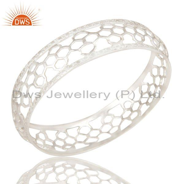 Beautiful Solid 925 Sterling Silver Cuff Bracelet Hollow Designer Wide Bangle