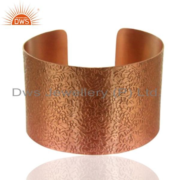 18K Rose Gold Plated Sterling Silver Floral Engraved Wide Cuff Bracelet
