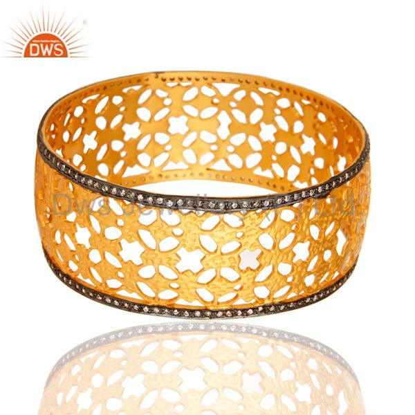 18K Yellow Gold Plated Over Brass Filigree Cuff Bracelet Wide Bangle With cz