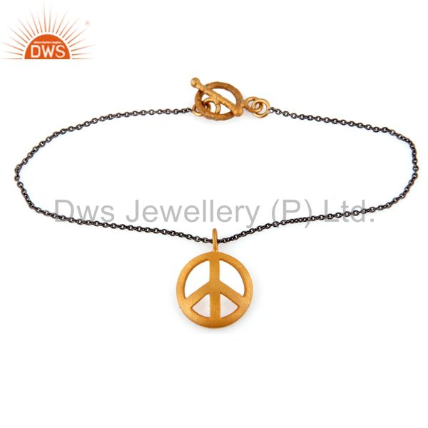 18k Yellow Gold Plated Sterling Silver Peace Sign Charm Pendant Necklace