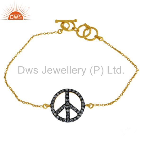 18K Yellow Gold Plated Sterling Silver Cubic Zirconia Peace Sign Chain Bracelet