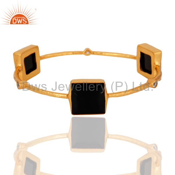 22K Yellow Gold Plated Brass Black Onyx And Cubic Zirconia Stackable Bangle