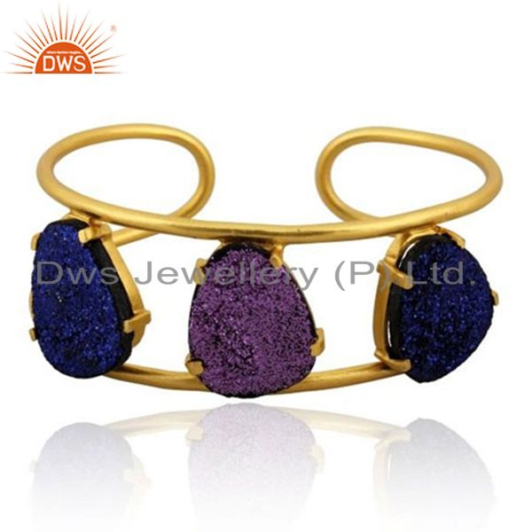 24K Yellow Gold Plated Brass Blue Druzy And Purple Druzy Designer Cuff Bracelet