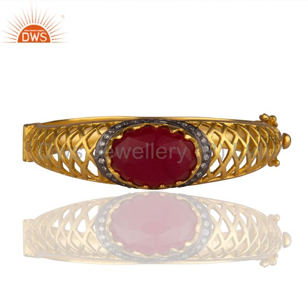 24K Yellow Gold Plated Brass Red Aventurine And CZ Designer Bangle Bracelet