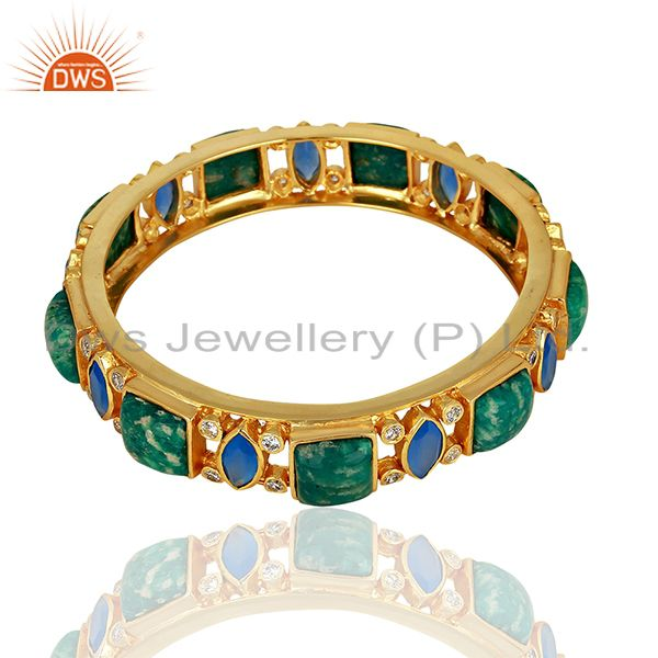 Amazonite & Blue Chalcedony Designer Brass 18K Gold Plated Bangles Jewelry