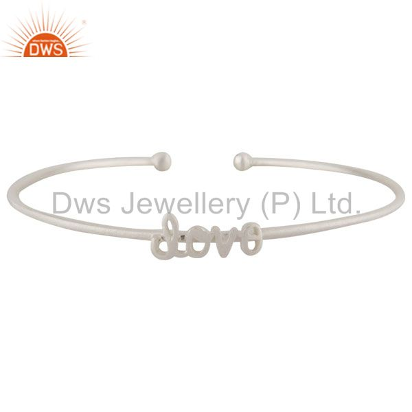 Handmade Sterling Silver Love Stackable Bangle Cuff Bracelet Jewelry