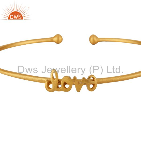 22K Yellow Gold Plated Sterling Silver Matte Finish Love Torque Bangle Bracelet