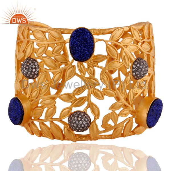18K Yellow Gold Plated Brass Blue Druzy Agate Floral Design Cuff Bangle Bracelet