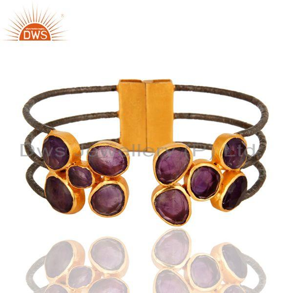 Natural Amethyst Gemstone Designer Cuff Bracelet Made in Rhodium Plated Brass