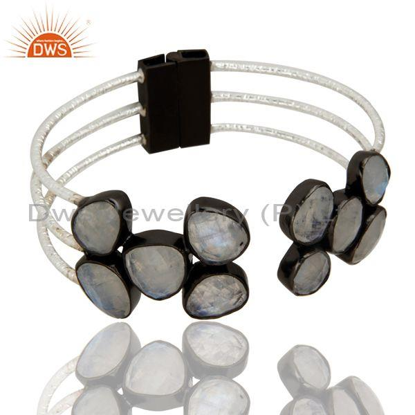 Black Rhodium Plated Faceted Rainbow Moonstone Gemstone Cuff Bangle Jewelry