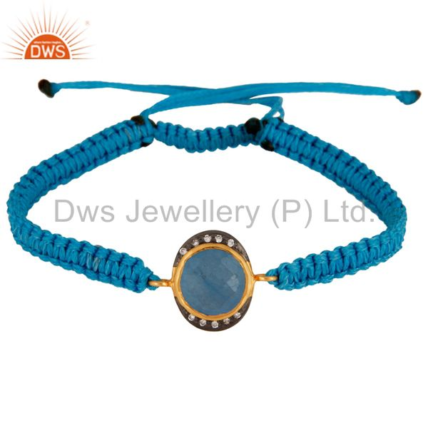 Gold Plated Blue Aventurine And CZ Sterling Silver Macrame Bracelet Jewelry