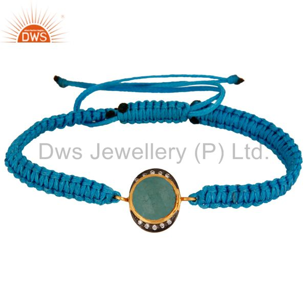 Blue Aventurine Gemstone Sterling Silver Macrame Bracelet - Gold Plated