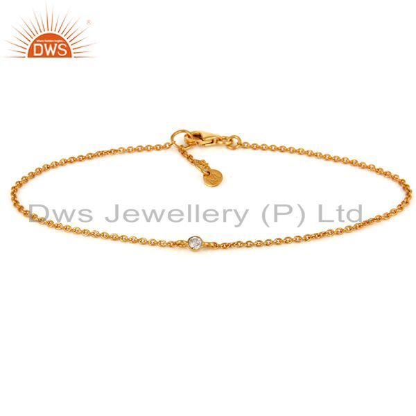 Natural Round Cut Diamond 18K Solid Yellow Gold Chain Bracelet With Lobster lock
