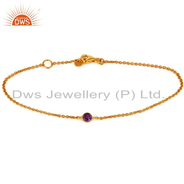 Natural Purple Amethyst Round Cut 18K Solid Yellow Gold Chain Bracelet