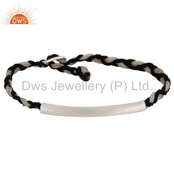 Solid Sterling Silver Curve Tube Bead Macrame Knot Cord Friendship Bracelet
