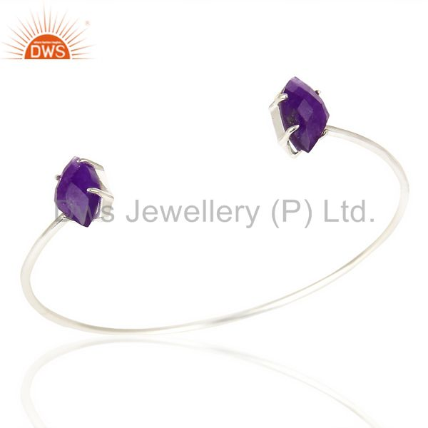 Purple Aventurine Gemstone Prong Set Silver Plated Cuff Bangle Brass Jewelry