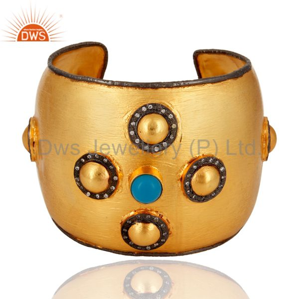 Handmade 18K Yellow Gold Plated Turquoise Gemstone Women Cuff Bracelets With CZ