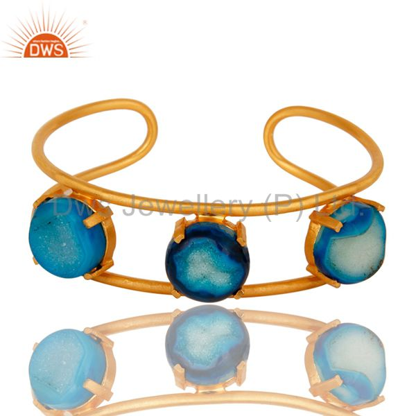 18K Yellow Gold Plated Over Brass Blue Agate Druzy Cuff Bracelet Bangle Jewelry