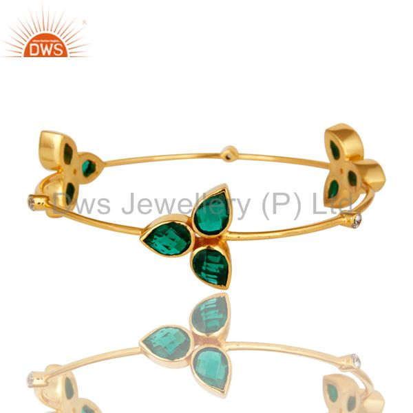 Handmade Hydro Green Onyx 14K Yellow Gold Plated CZ Stackable Bangle