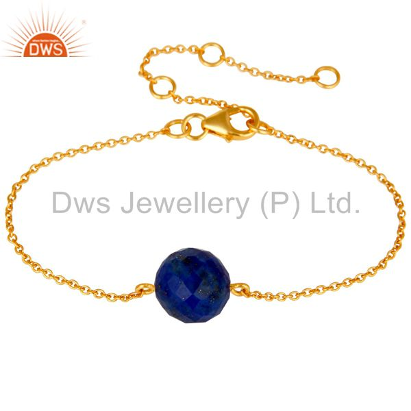 18K Yellow Gold Plated Sterling Silver Lapis Ball Chain Bracelet