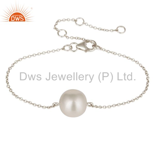 Handmade Solid 925 Plated Sterling Silver White Pearl Cable Link Chain Bracelet