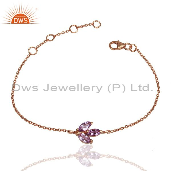 February Birthstone Amethyst Rose Gold Plated Solid Silver Bracelet