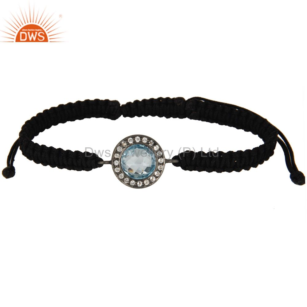 Oxidized Sterling Silver Blue Topaz And White Topaz Macrame Adjustable Bracelet
