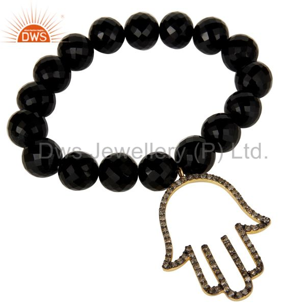 18k Gold Plated Sterling Silver Hand Design Diamond & Black Onyx Charms Bracelet